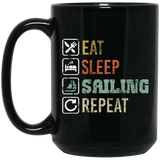 Retro Sailing Sailboat Black Mug