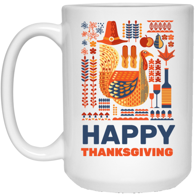 Happy Thanksgiving, Fall Season White Mug