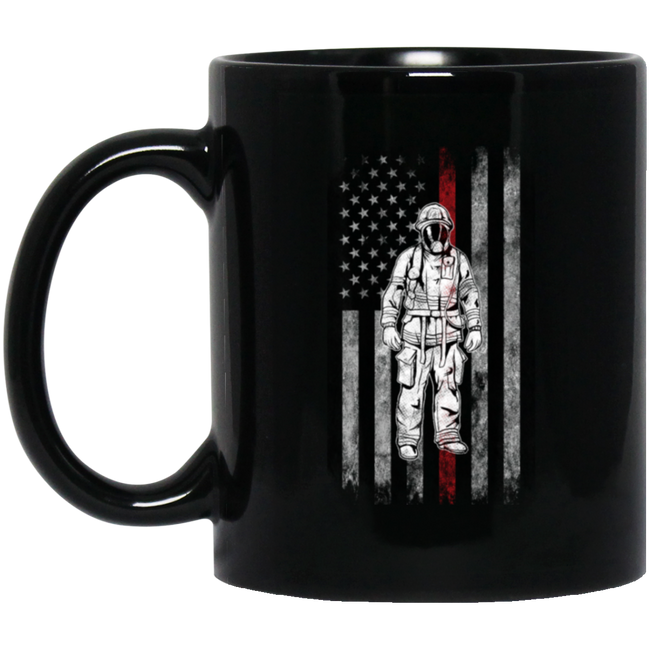Firefighter American Flag Thin Red Line Black Mug