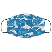 Storm Waves Raging Ocean, Vintage Japanese 3 Layers Face Mask