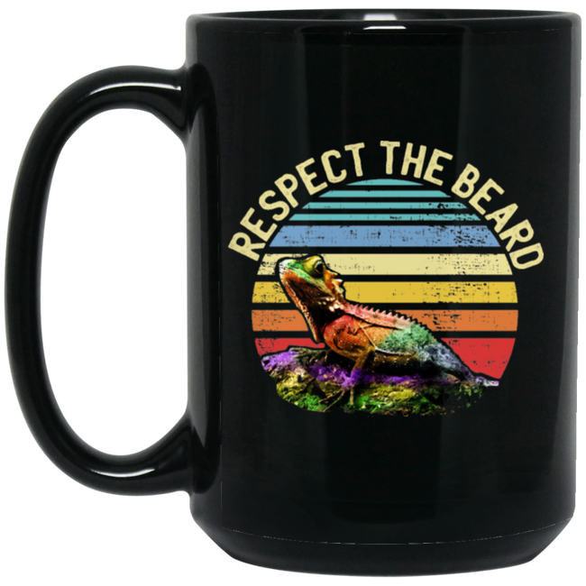 Respect the Beard Funny Bearded Dragon Black Mug