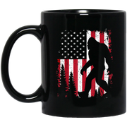 Bigfoot 4th of July American USA Flag Patriotic Black Mug
