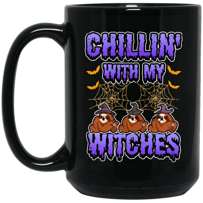 Chillin With My Witches Halloween Funny Sloth