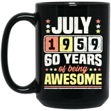 July 1959 60th Birthday Sixty Black Mug