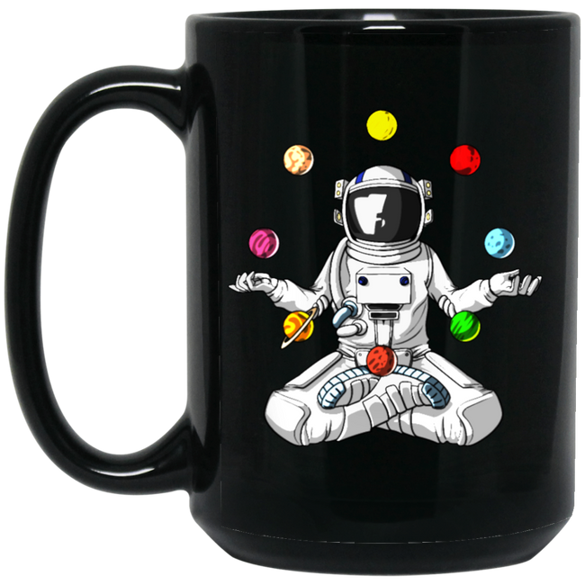 Space Astronaut Zen Yoga Planets Meditation Black Mug