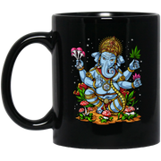 Psychedelic Hindu God Ganesha Weed Magic Mushrooms Black Mug