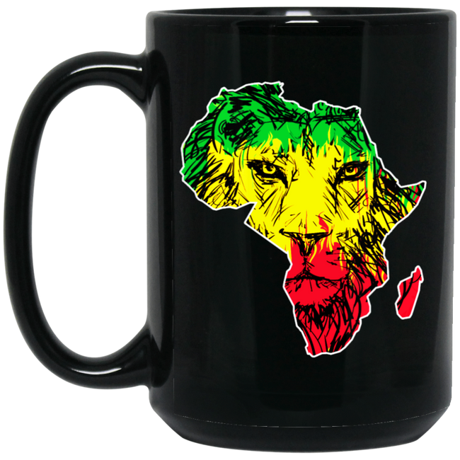 Africa Map Rasta Lion Black Mug