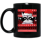 Racoon Ugly Christmas, Santa Claus Black Mug