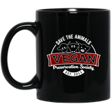 Save The Animals Vegan Society Black Mug