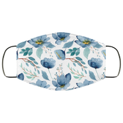 Blue Flowers, Watercolor Floral Three Layers Face Mask