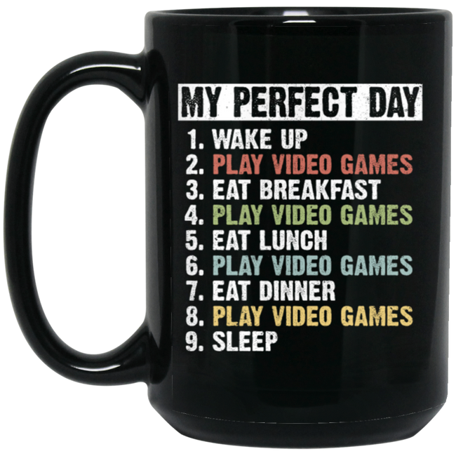 Retro Vintage My Perfect Day Black Mug