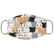 Cute Cat Kitten Cartoon Doodle 3 Layers Face Mask