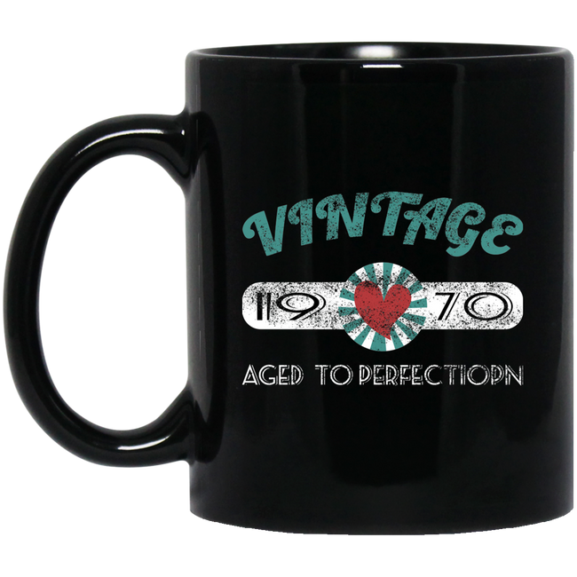 Vintage 1970 Birthday, 1970 Aged To Perfection Black Mug