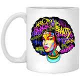 Afro Woman Hair, Afro Beat White Mug