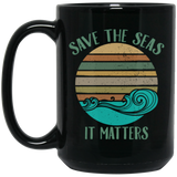 Environmentalist Ocean Awareness Retro Cool Gift Black Mug