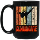 Retro Karate Powerful Black Mug