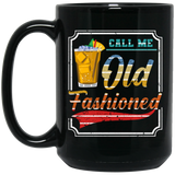 Retro Call Me Old Fashioned Whiskey Brandy Gift Black Mug