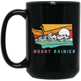 Mount Rainier Washington Outdoors Retro Mountains Black Mug