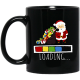 Funny Santa Noel Holiday, Christmas Is Loading Black Mug