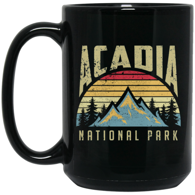 Acadia National Park Maine Mountains Retro Black Mug