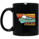 Great Bear Montana Outdoors Retro Mountains Black Mug