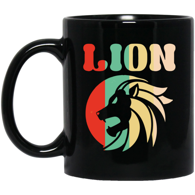 Retro Lion, Vintage Lion Black Mug
