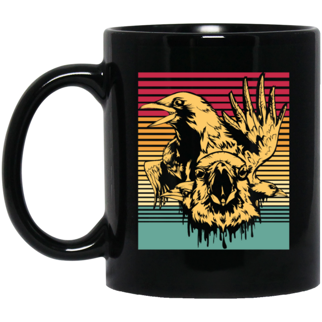 Crows Retro, Gift Idea Black Mug