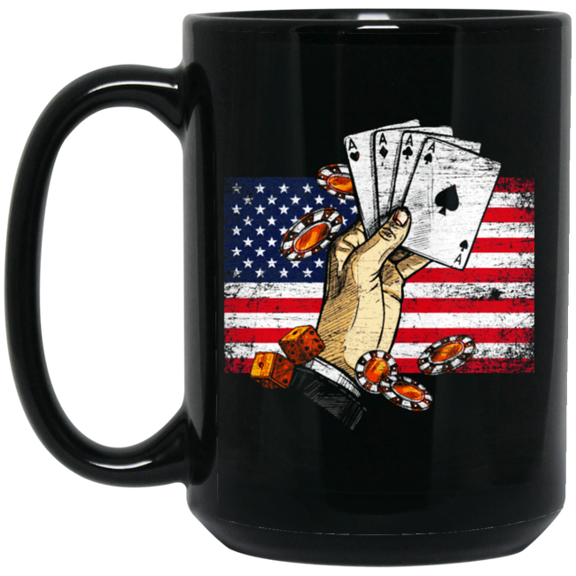 Vintage Poker USA Black Mug