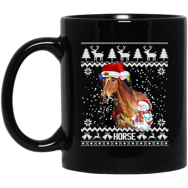 Horse Ugly Christmas Santa Hat Xmas Sweater Horse Black Mug