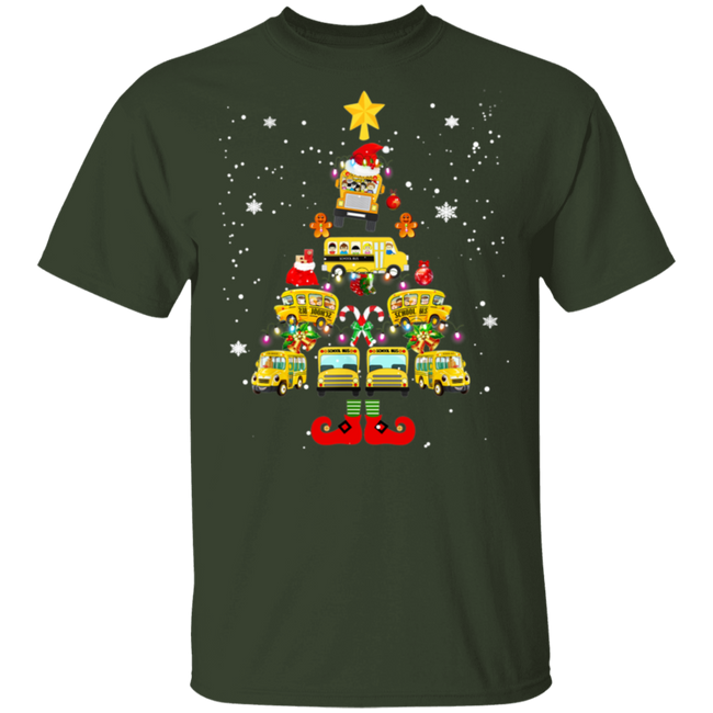 Funny School Bus Driver Christmas Tree T-Shirt