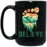 Bigfoot Believe Black Mug