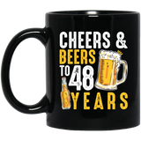 48th Birthday Gifts Drinking, Cheers and Beers to 48 Years Black Mug