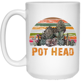 Pot Head Stone Flowers VIntage Retro Sunset White Mug