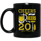 Cheers and Beers 20th Birthday Gift Idea Black Mug