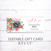 Printable Gift Certificate, Gift Certificate Template, Watercolor Gift Certificate, Photography Gift Voucher Template, Photo Session Card 02