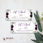 Purple Blush Gift Certificate Templates, Floral Gift Certificate 03
