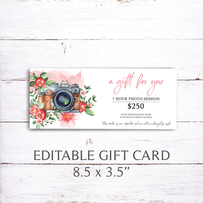 Photography Gift Certificate Templates, Printable Gift Certificate 02