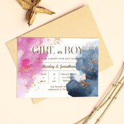 Gender reveal invitation, Printable shower invitation, Watercolor baby shower, Navy gold pink reveal invite BS15