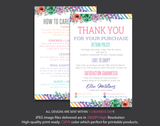 Personalized Lularoe Thank You Card, Lularoe Care Instruction Card LLR08