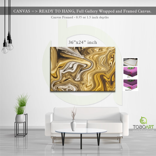 Gold Marble Canvas, Wall Art Canvas .75 inch Framed, Large Canvas Art CV18