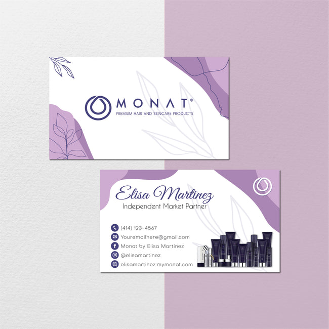 Modern Monat Business Cards, Watercolor Personalized Monat Hair Care Cards MN135