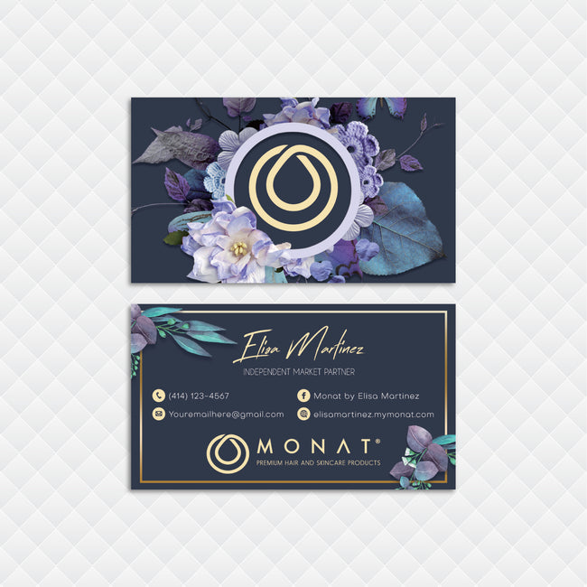 Modern Monat Business Cards, Floral Personalized Monat Hair Care Cards MN143
