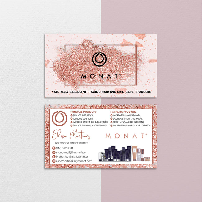 Glitter Modern Monat Business Cards, Glitter Personalized Monat Hair Care Cards MN158