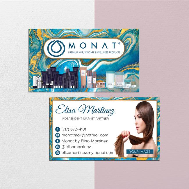Modern Monat Business Cards, Watercolor Personalized Monat Hair Care Cards MN169