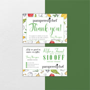 Personalized Pampered Chef Thank Cards, Pampered Chef Care Instruction Cards PPC15