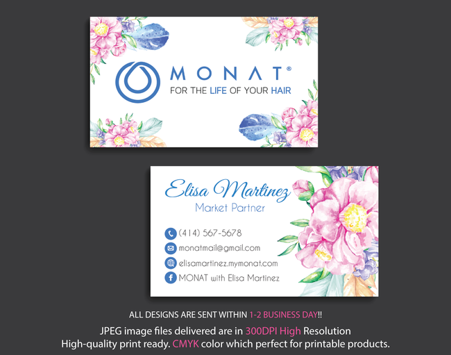 Monat Business Cards, Personalized Monat Hair Care Cards MN21