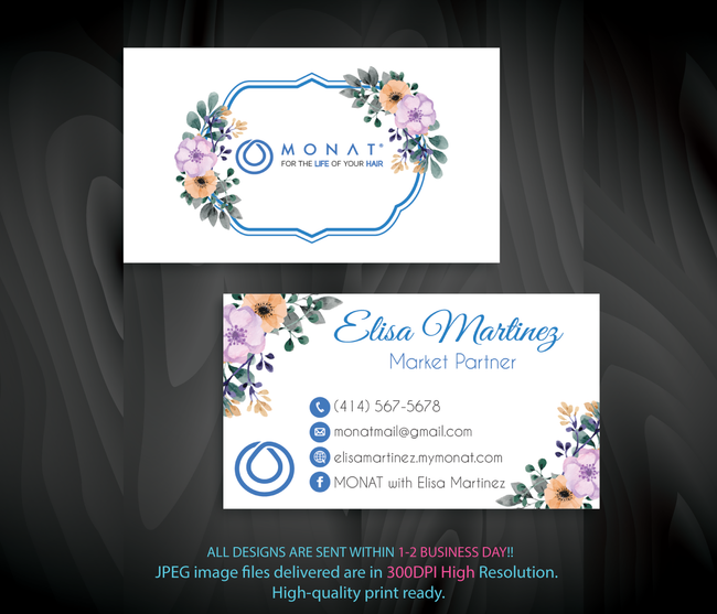 Monat Business Cards, Personalized Monat Hair Care Cards MN31