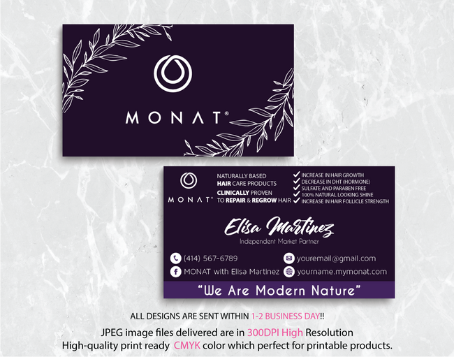 Monat Business Cards, Personalized Monat Hair Care Cards MN28