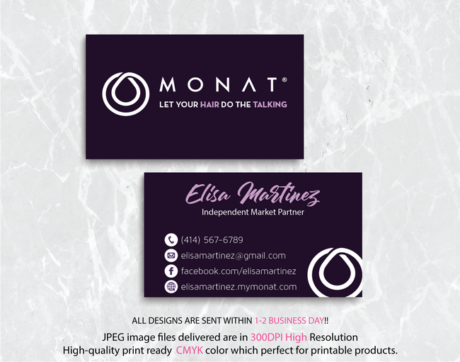 Monat Business Cards, Personalized Monat Hair Care Cards MN25
