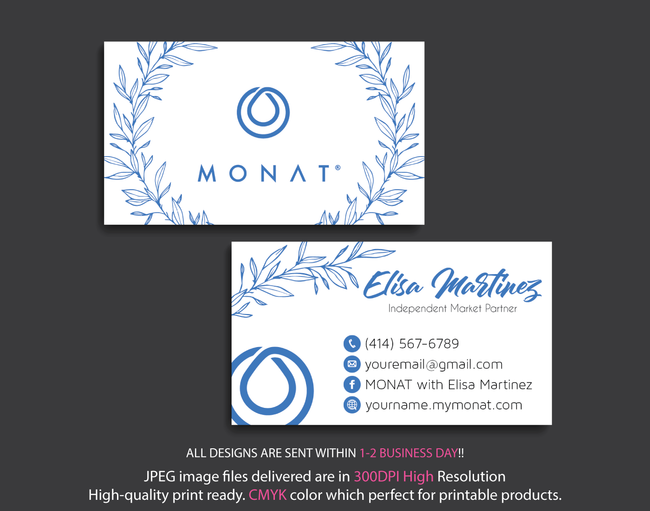 Monat Business Cards, Personalized Monat Hair Care Cards MN27